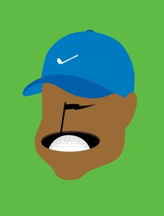 Tiger Woods Portrait by Noma Bar, part of his Guess Who? Book ::: www.dutchuncle.co.uk/noma-bar-images