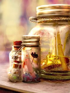 """spell jar inspiration   A SPELL IS AN ANCIENT WAY OF SAYING """" words with intent """"  Affirmations & Intentions are a powerful way of focusing our energy on what we desire. THESE JARS ARE SUCH A WONDERFUL WAY OF HOLDING THAT FOCUS !!!"""