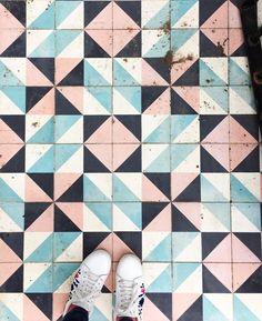 Geometric encaustic tiles