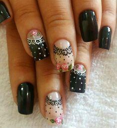 Otros, rosas Toe Nail Color, Nail Colors, Nail Drawing, Romantic Nails, Nails Now, Dot Nail Art, French Nail Art, Hot Nails, Beautiful Nail Art