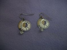 Unique silvertone handcrafted Earrings with white stone