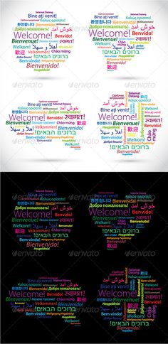 Multilingual welcome poster featuring the word welcome in a colourful set of shapes created from vector words welcome in different languages all verified translations layered illustrator cs file stopboris Choice Image