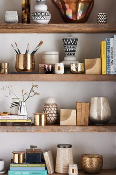 A chic and simple canister set like this one from Anthropologie can up your storage while still giving you a minimalist look. Metallics offer shine and a little bit of a feminine touch to any space. Perfect for storing everything from cotton balls in the bathroom to desk supplies in the office. #affiliate