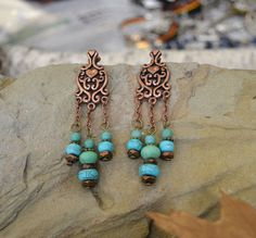 Turquoise Earrings Copper Boho Dangle Drop Earrings by LKArtChic