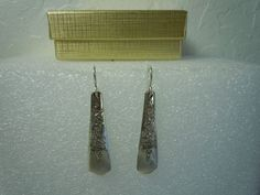 Williams Brothers Wood Rose Earrings 1950 Silverplate  #WilliamsBrothers #DropDangle