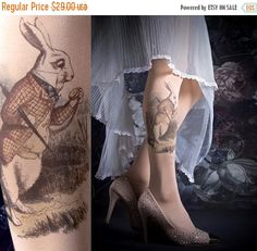 15%SALE/endsMAR31/ Tattoo Tights - ALICE one size nude full length printed tights, pantyhose, nylons by tattoosocks