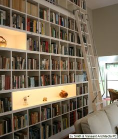 rolling ladder bookcase, lighted display in bookcase