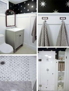 Rambling Renovators: House Tour #bathroom #basement #blackandwhite #marble #vintage #modern #smallbathroom #renovation