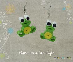 Quilling, paperolles, grenouilles vertes - boucle d'oreille : Boucles d'oreille par dans-un-autre-style