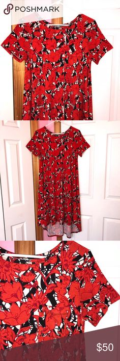 LuLaRoe Carly EUC. Washed per LuLaRoe instructions. High low swing dress. Bold colors. Floral print. 95% polyester and 5% spandex. ❌NO TRADES❌ LuLaRoe Dresses High Low
