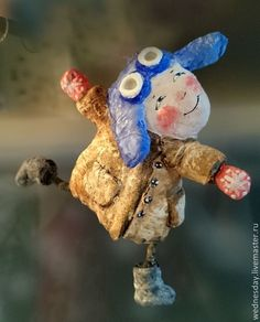 Купить Летчик - папье маше, летчик, мальчик, елочная игрушка, интерьерная игрушка, детство, вата