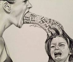 Stop child abuse! Verbal, emotional and psychological child abuse art - unknown artist Art Sketches, Art Drawings, Pencil Drawings, Deep Art, Powerful Images, Powerful Art, Sad Art, Arte Horror, Photomontage