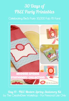 30 Days of FREE Pary Printables: Day 19 - Modern Spring Stationery Collection by The CreativiDee Workshop by Birds Party