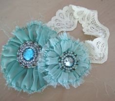 Teal Lace Headband for Toddler