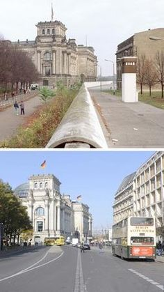 Berlin ~ Germany ~ The Berlin Wall, then and now. Look how industrial and depressing East Germany was even in this tiny snapshot, and how baroque and grand West Germany was. East Germany, Berlin Germany, Germany Area, Berlin Ick Liebe Dir, Ddr Brd, Berlin Hauptstadt, Berlin Today, Modern History, Ww2 History
