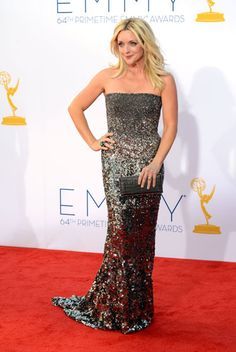 Emmys 2012: The Best of the Red Carpet - Jane Krakowski shimmers in a gunmetal strapless gown by Kaufmanfranco.