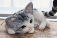 Needle felted kitten by mofu mofu milk from Japan