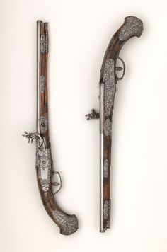 Ornate silver mounted wheel-lock pistol crafted by Giovanni Antonio Gavacciolo, barrel made by Lazarino Cominazzo, mid century. Black Powder Guns, Hand Cannon, Musketeers, Old Antiques, Percussion, Metropolitan Museum, 17th Century, Swords, Firearms