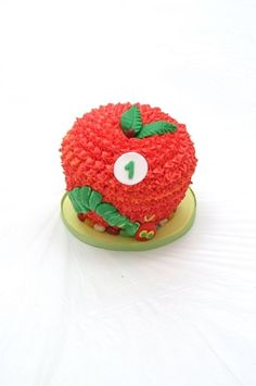 Smash cake at a Very Hungry Caterpillar Party #veryhungrycaterpillar #partycake