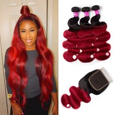"""La'Mo Hair on Instagram: """"💛 So cute #shepretty👸 who loves this 1B Red color Body Wave Bundles With Closure? Link in the bio💕💗 • • • • #peruvianvirginhair…"""" Weave Hairstyles, Straight Hairstyles, Buy Hair Extensions, Best Virgin Hair, Virgin Hair Bundles, Waves Bundle, Brazilian Body Wave, Remy Human Hair, Lace Wigs"""