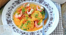 Krämig fisksoppa Thai Red Curry, Seafood, Food And Drink, Fish, Dinner, Land, Ethnic Recipes, Soups, Inspiration