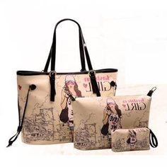 3 em 1 Bolsa de mulher moda casual beleza menina padrao saco de viagem jogo transversal de um ombro saco de lona elegante US $26.87