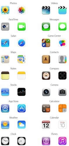 Here's What All The New iOS 7 Icons Look Like Compared To iOS 6 Icons