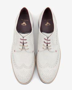 Suede wingtip derby brogues - Ecru | Shoes | Ted Baker