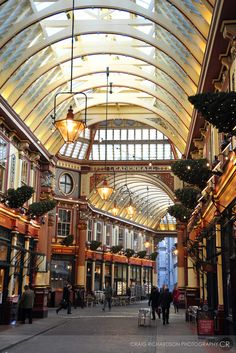 London - Leadenhall Market - located in Gracechurch Street. The ornate roof structure was designed in 1881 by Sir Horace Jones. More recently its been used to represent The Leaky Cauldron and Diagon Alley in the film Harry Potter and the Philosopher's Stone.