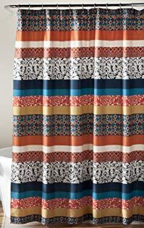 Curtain Fabric Bathroom  Colorful Geometric and Floral Bohemian Striped Shower