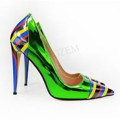 Green Shiny Women Heels Stilettos, Pumps Heels, Sexy High Heels, Womens High Heels, Women's Shoes, Clogs, Neon Pumps, Full Figure Fashion, Party Shoes