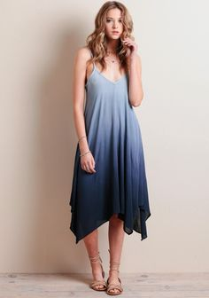 you'll be the envy of all your friends in this gorgeous blue ombre dress. Enjoy a day at the beach then simply throw on wedges for a date night. Summer Rain, Indie Fashion, Blue Ombre, Girls Night Out, Envy, Wedges, Friends, Beach, How To Wear