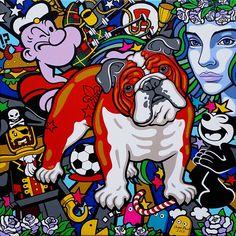 Red Bulldog – 2015 Acrylic paint on canvas Rote Bulldogge – 2015 Acryl auf Leinwand 80 x 80 cm © Oxana Prantl Pop Art, Hermes Paketshop, How Lucky Am I, British Bulldog, Museum, Wonder Woman, Acrylic Painting Canvas, My Best Friend, Scooby Doo