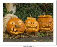 """Three Halloween Pumpkins"" - Art Print from FreeArt.com"