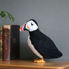 Parker the puffin, textile art bird, taxidermy sculpture, free postage UK £120.00