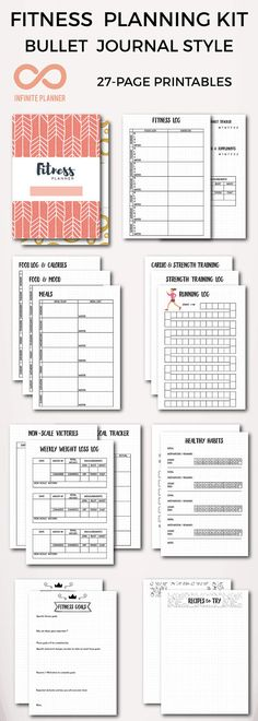 Fitness Mega Kit - Healthy Eating Exercise Nutrition Meal Planning Recipes - Bullet Journal Printable Whether you need to get in shape train for a marathon or develop life-long healthy habits this fitness planner printables can help.