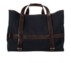 Hermès ~ Canvas and leather travel tote