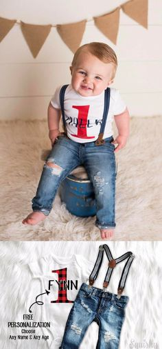 8ffc5b90df64 This Baby Boy 1st Birthday Outfit is adorable. With the lumberjack