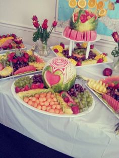 """A """"dessert"""" table comprised completely of fruit. Very cute."""