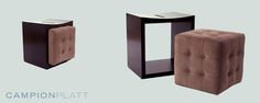 *Boxer Ottoman* An upholstered cube-shaped ottoman that nests within a side table