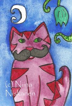 Cat with mustache  ACEO Card Folk Art  Original by fairychamber