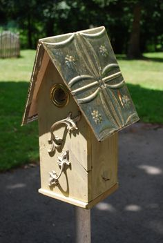 Hand crafted floral perch birdhouses by nelotcram on Etsy, $99.00