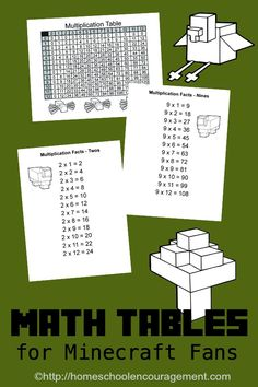 Learn your Multiplication tables! Free Minecraft Printable Multiplication Table and multiplication chart for each number math. Learning Multiplication, Multiplication Tables, Teaching Math, Multiplication Strategies, Maths, Math Fractions, Teaching Ideas, Minecraft School, Minecraft Stuff