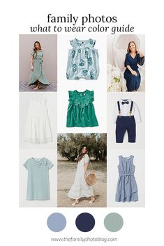 What to wear in family photos color guide: Greens and blues for spring. Family Photos What To Wear, Large Family Photos, Family Photo Colors, Family Picture Outfits, Clothing Photography, Photography Outfits, Face Photography, Spring Family Pictures, Fall Photos