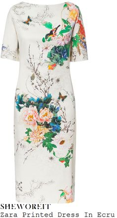 sheworeit: Holly Willoughby's Zara Cream & Multicoloured All Over Floral, Bird, Butterfly & Cherry Blossom Branch Garden Photo Graphic Print Tailored Half Sleeve Knee Length Pencil Shift Dress