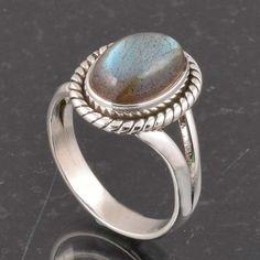 BLUE FIRE LABRADORITE 925 SOLID STERLING SILVER FASHION RING 4.43g DJR6360 #Handmade #Ring