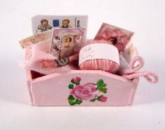 Miniature Shabby Chic Sewing Basket Ooak Dollhouse Mini Pink with Roses