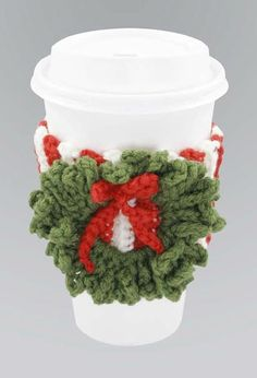 Crochet Wreath Cup Cozy free pattern.