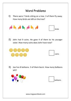 Addition and Subtraction Word Problems Worksheets For Kindergarten and Grade 1 - Story Sums - Story Problems - MegaWorkbook Mental Maths Worksheets, Math Addition Worksheets, First Grade Math Worksheets, 1st Grade Math, Class 1 Maths, Tracing Worksheets, Math Education, Printable Worksheets, Free Printable