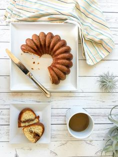 Sour cream coffeecake in bundt form from a King Arthur Flour Essential Goodness mix that takes less than 10 minutes of prep! via @lajollamom